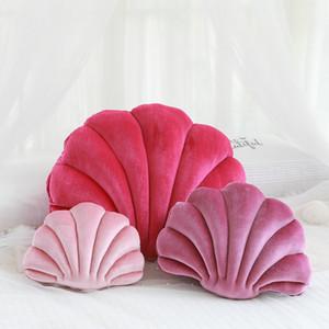 Luxury Purple Velvet Shell Stuffed Plush Throw Sofa Cushion Car Pillow Home Bed Decoration Gift for Friend 201012