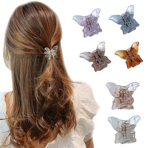 6 Colors Mini Butterfly Hair Claw Crab Clips Headwear,1PC Korean style Women Girls Fashion Transparent Butterfly Hair Claw