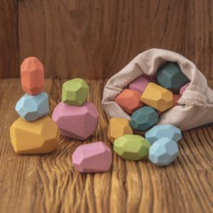 Baby Jenga Bouwsteen Gekleurde Creative Educatief Speelgoed Nordic Stijl Stapelen Spel Regenboog Steen Houten