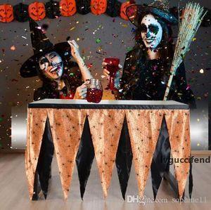 Halloween Table Skirt Spider Net Pattern Two-color Tabela avental Home Textiles Desk saia Tema Table Skirt