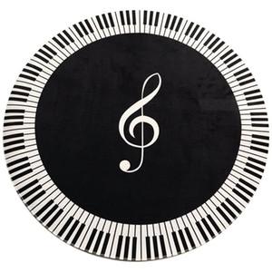 New Carpet Music Symbol Piano Key Black White Round Carpet Non-Slip Home Bedroom Mat Floor Decoration