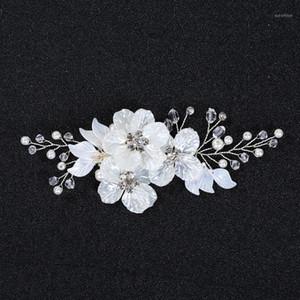 Slbridal Handmade Silver Color Cristaux Strass Fleur Fleur De Mariage Clip Coiffure Barrettes Heille Headpiece Heppillée Accessoires de cheveux1