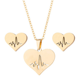 Fashion Stainless Steel Love Heart Necklace Women Gold Heartbeat Stud Earrings Jewelry Sets for Girls Wedding Jewelry