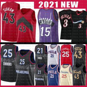 Vince 15 Carter Allen 3 Iverson Pascal 43 Siakam Basketball Jersey Joel 21 Embiid Ben 25 Simmons 6 Julius Tracy 1 McGrady Erving Jerseys