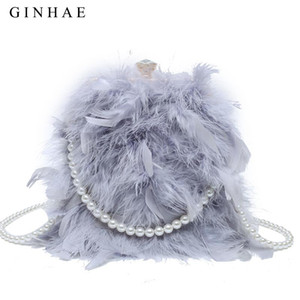 GINHAE 2020 Pearl Chain Shoulder Bag Real Women Ostrich Feather Handbag Lady Warm Evening Party Bag Phone Purse Crossbody