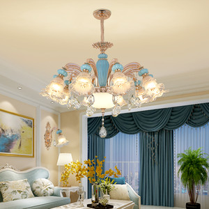 European Romantic Crystal Chandelier LED Zinc Alloy Ceramic Chandeliers Lights Fixture also can be Ceiling Lamp Home Indoor Lighting