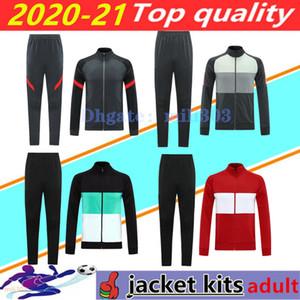 (20) (21) 남자 축구 재킷 세트 운동복 Survetement 2020 2021 Chandal 델 남성의 긴 소매 지퍼 재킷 축구 훈련 정장 조깅