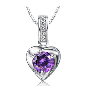 Fast Shipping from USA Sterling Silver Necklace Purple Crystal Zircon Pendant 18inches 925 Box Chain Clavicle