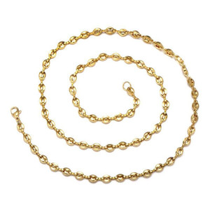 Wholesale Jewelry -- Gold Color 60cm 316L Titanium steel Hiphop Coffee Bean Necklaces for Men Fashion Jewlery No Fade