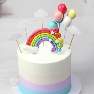 Colorful Rainbow Cake Topper Birthday Wedding Cake Flags Cloud Balloon Baby Shower Birthday Party Decoration Supplies