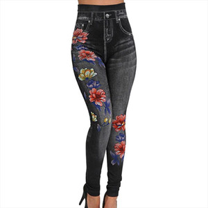 Women Autumn And Winter Casual Leggings New Print Elastic Force Fashion High Waist Jeans Leggings Rose Legging Plus Size