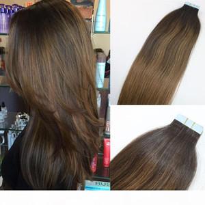 COLOR BALAYAGE # 2 # 8 Высококачественные горячие продажи бразильские девственницы REMY волосы прямые бесшовные человеческие волосы PU ленты в удлинении волос 100 г 40 шт.