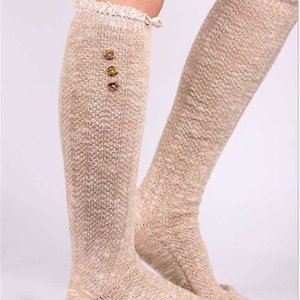 2015 Women Button Lace stockings boot cuff Leg Warmers Foot socks boot cuff lace knit leg warmer Western style 10pair lot #3969