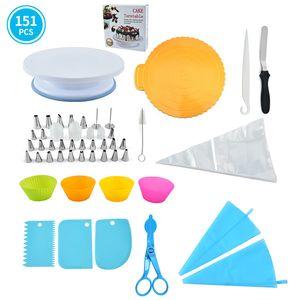 151 pezzi Cake Giradischi Set Set completo di strumenti necessari per la cottura torta di burro decorare bocca DHL