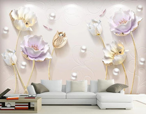 Nordic Custom Relief New Simple Jewelry Three-dimensional Tulipgarden Living Room TV Backdrop 3D Wallpaper Wall Murals