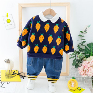 HYLKIDHUOSE 2020 Baby Girls Boys Clothing Sets Toddler Infant Clothes Suits Autumn Plush Warm Tops Pants Child Kids Costume