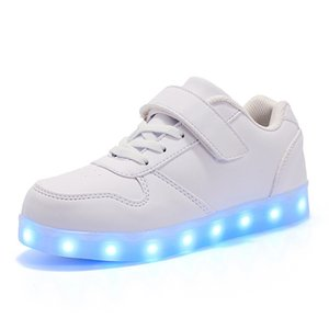 7ipupas criança levou sapatos usb carregador acender sapatos para meninos meninas brilhando tênis de natal t200624
