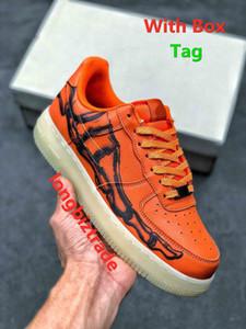 أعلى جودة ضوء هالوين البرتقال الأسود هيكل عظمي محدودة للرجل سكيت الأحذية القوات هيكل واحد الهيكل العظمي كيوس رجل أحذية النساء مصممين أحذية رياضية