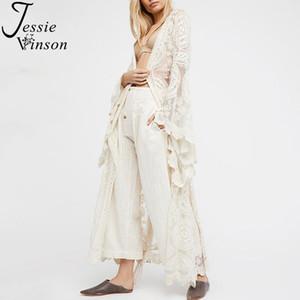Jessie vinson moda mujeres más tamaño manga larga perspectiva lace largo cárdigan kimono playa traje de baño cubierta blanco en general1