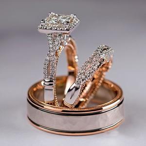 Conjunto de três peças de ouro rosa com anel de zircão brilhante para anel de noivado de luxo europeu e americano