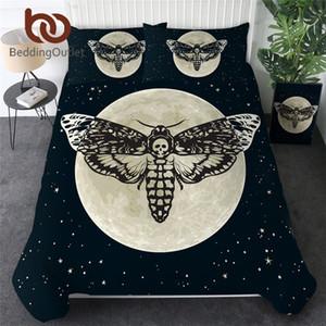 BeddingOutlet Polilla Muerte Juego de cama gótica del cráneo cubierta del Duvet mariposa Ropa de cama 3 piezas de Estrellas de la luna doble textiles para el hogar 1012