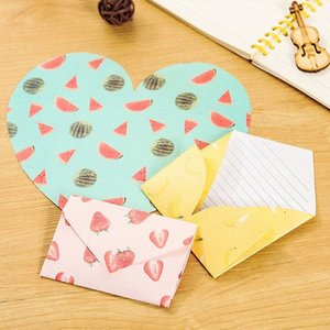 Wholesale-4 pcs pack Creative Fruit Pattern Hearts Shaped Letter Paper Envelope Letter Pad Gift Stationery School Office Supply RuT9#