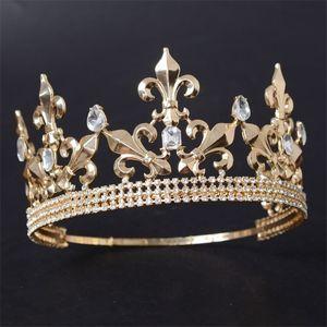 Ayarlanabilir Yuvarlak Altın / Gümüş Düğün Kral Tiara Taç Başlığı Erkekler için Parti Saç Süsler Rhinestone Kafa Takı Aksesuarları T200522