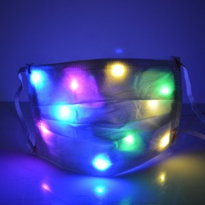 LED-Gesichtsmaske Mundabdeckung Lichtmaske Vlies-Tanzmasken Nacht Show Bar Weihnachten dekorative bunte Blitzmaske CYF4573