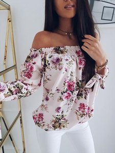 New Fashion Womens Summer Floral Off Shoulder Tops Loose Blouses Casual Three Quater Shirt Blouse Drop Shipping