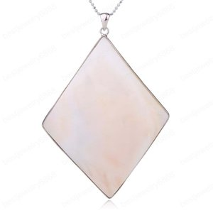 Rhombus Natural Mother of Pearl Shell Big Pendant White Shells Pendants Necklaces for Women Men Beach Jewelry