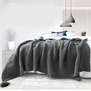 Thread Blanket with Tassels Solid Beige Grey Coffee Throw Blanket for Bed Sofa Home Textile Fashion Cape 2 Size Knitted