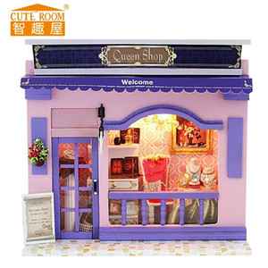 2017 New Arrival Miniatura Gift Doll House Wooden Dollhouses Miniature Diy Dollhouse European Street Shop Furniture Toy Kid Gift Y200413