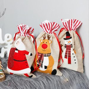 Drawstring Bag Gift Bags Pouch Reusable Packaging Xmas New Year Christmas Linen Three-Dimensional Embroidered Candy Bag