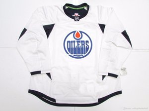 Cheap custom EDMONTON OILERS WHITE EDGE PRACTICE HOCKEY JERSEY stitch add any number any name Mens Hockey Jersey XS-5XL