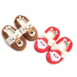 Navidad Niños Invierno Zapatillas Inicio Baby Boy Girl Linda Dibujos Animados Calientes Cálidos Zapatos Niños Comfort Indoor Soft House Slipper 2-9T A50 Y201028
