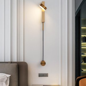 LED bedroom wall lamps rotation dimming switch led wall light modern stai deco sconce living room golden luminaire