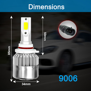 Winsun 1 Pair 9006 C6 LED Car Headlights 72W 7600LM COB Auto Headlamp Bulbs H1 H3 H4 H7 H11 880 9004 9005 9006 9007 Car Styling Lights