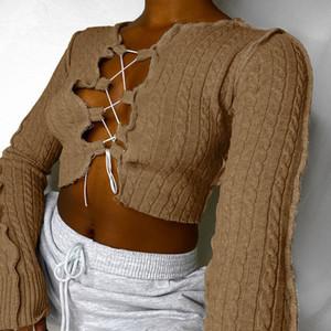 örme tişört Kadınlar Patchwork Uzun Kollu kadar Sonbahar / kış Yeni popüler kadın giyim göğüs içi boş dantel Oluklu Seksi Partiyi Tops