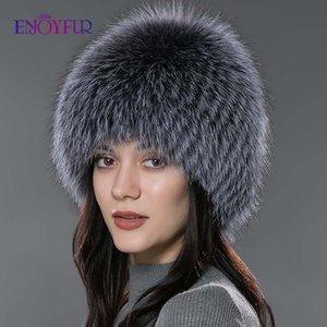 les femmes ENJOYFUR hiver chapeau de fourrure véritable chapeau de fourrure chapeaux d'argent tricotées femmes russes caps Bomer