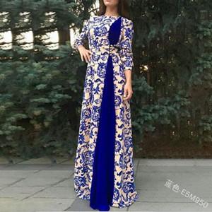 Этническая одежда Элегантная мусульманка Abaya Print Maxi платье Vestidos Cardigan Kimono Длинные халаты Jubah Middle East Eid Ramadan Dubai Islamic1