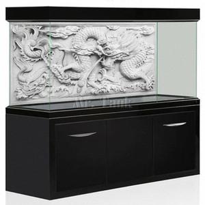 Background Mr.Tank HD Aquário Poster Efeito 3D Dragão cinzento Cameo PVC Fish Tank Wall Adesivo Decoração Qiju #