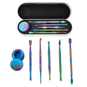 Regenbogen Wachs Dabber Tool Kit Set Silicon Container Glas Trockener Herb DAB Tools Zubehör Mit Metall Einzelpaket DHL frei