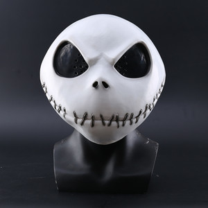 New The Nightmare Before Christmas Jack Skellington White Latex Mask Movie Cosplay Props Halloween Party Mischievous Horror Mask Y1127