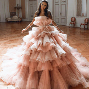 2021 Blush Pink Prom Dresses Sexy Strapless Tiered Skirts Ruffles Evening Dress Formal Pleats Cocktail Gowns Quinceanera Dresses