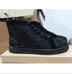 AyakkabıLoubutinClHıristiyanModa Siyah Glitter Spike Yüksek Üst Sneakers Tasarımcı Kırmızı Alt Ayakkabı Kadın Erkek Eğitmenleri HXC