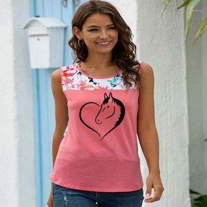 Amor Coração Cavalo Impresso Camiseta Mulheres Sem Mangas O-pescoço Padrão Engraçado Tshirt Tops de Verão Streetwear Tops 2020 Tshirt Femme1
