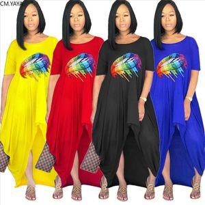 2019 new summer autumn women o neck short sleeve mouth print irregular loose maxi dress fashion long dresses vestidos GLSD0017