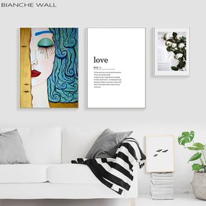 Woman and Fower Love Quote Poster Abstract Canvas Painting Poster Print Decor Wall Art Pictures for Living Room Bedroom