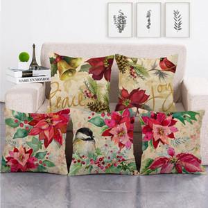 45cm*45cm watercolor Red Poinsettia design throw cushion cover linen cotton sofa pillow cover decorative pillow case