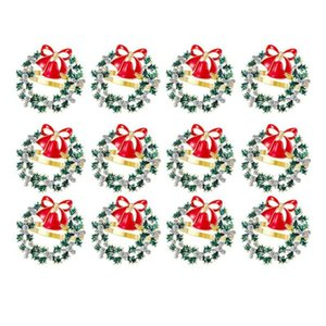 12 Pcs Christmas Wreath Napkin Ring Metal Napkin Buckle Diamond Ring Dinner Party Buckle